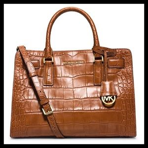 Michael Kors Dillon Croc-Embossed Satchel Bag